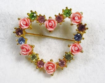 Vintage Avon porcelain roses multicolored rhinestones heart brooch pin