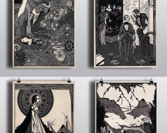 Antique Edgar Allan Poe Art Print Set -- Four 11x14 Prints-- Harry Clarke Illustrations Raven Prints Poster Wall Art Edgar Allan Poe Book
