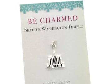 Seattle Temple, LDS Temples, Seattle Washington Temple charms, LDS Wedding, Mormon temple charm bracelet, temple Necklace or temple keyring