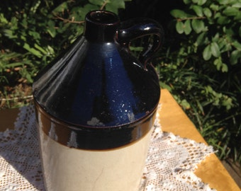 VINTAGE 2 Tone Brown &Tan Stoneware Pottery Jug Made in Akron OH