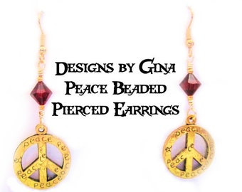 Peace Beaded Pierced Earrings DG0041 Handmade Original Designs by Gina Dangle Drop Red Beads