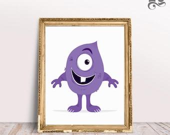 Nursery Art Print - DIGITAL DOWNLOAD, Quirky Purple Monster, Tooth Monster poster, Silly Monster print, Kid's room art, Funny monster art