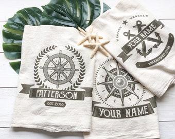 CUSTOMIZABLE Tea Towel Nautical Tea Towel Custom Wedding Gift Housewarming Gift Anchor Tea Towel Lake House Decor Coastal Decor Compass