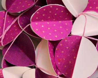 Paper Garland - Wall decor - Fuchsia (magenta), pink (blush) - Decor for Christmas, wedding, party, nursery