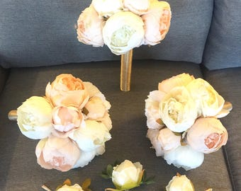Customize Your Package, Cream Peony Bouquet, Ivory Peony Bouquet, Bridesmaid Bouquet, Champagne Peony Bridesmaid Bouquet, Silk Wedding Bouqu