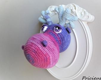 Trophy deer head, caribou, Moose made crochet