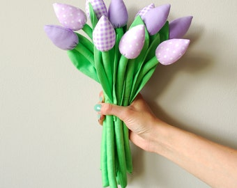 Fabric tulips - Mother's Day Gift spring cotton flowers bouquet gift for birthday love