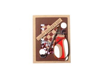 Fathers Day - Shaker Card - Golf Lover - Card for Golfer - Card for Dad - Husband Card - Masculine Card - Interactive Card - 3D Card
