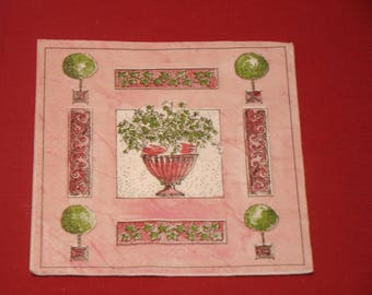 """paper flowers """"French garden"""" theme towel"""
