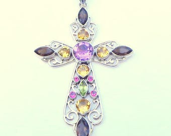 Stunning, Sterling Silver, Large Cross, Vintage,Designer Nicky Butler,All Natural,Bezel Set Gemstones,Amethyst,Citrine,Peridot,Smokey Quartz