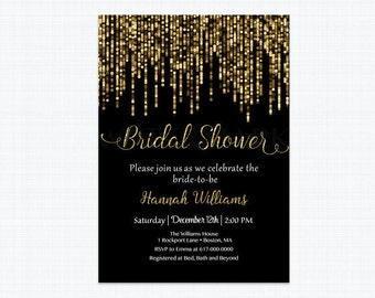 Gold Bridal Shower Invitation, Bokeh Black and Gold Bridal Shower Invitation, Black and Gold Printable Bridal Shower JPEG  Printable 803