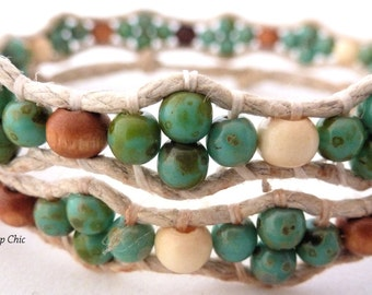 Handmade Double Wrap Hemp Wrap Bracelet or Hemp Choker with Green Picasso Czech Glass and Wood Beads