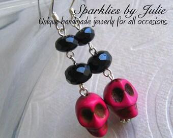 Lady Skulls earrings - Genuine howlite turquoise skulls, magenta pink, black Czech rondelles, sterling silver components, Rocker Chic