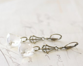 Bridal crystal bell earrings vintage style brass victorian elegant wedding bridesmaid jewelry clear or amethyst