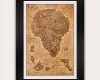 Jurassic Park Map - Sepia - Poster - Isla Nublar Map - Print - Antique Style Vintage World Map - Dinosaur