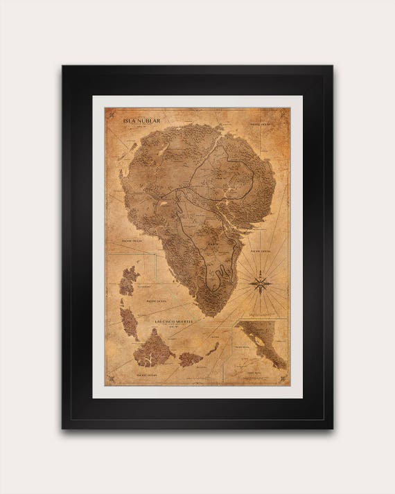 Jurassic park map sepia poster isla nublar map print like this item gumiabroncs Image collections