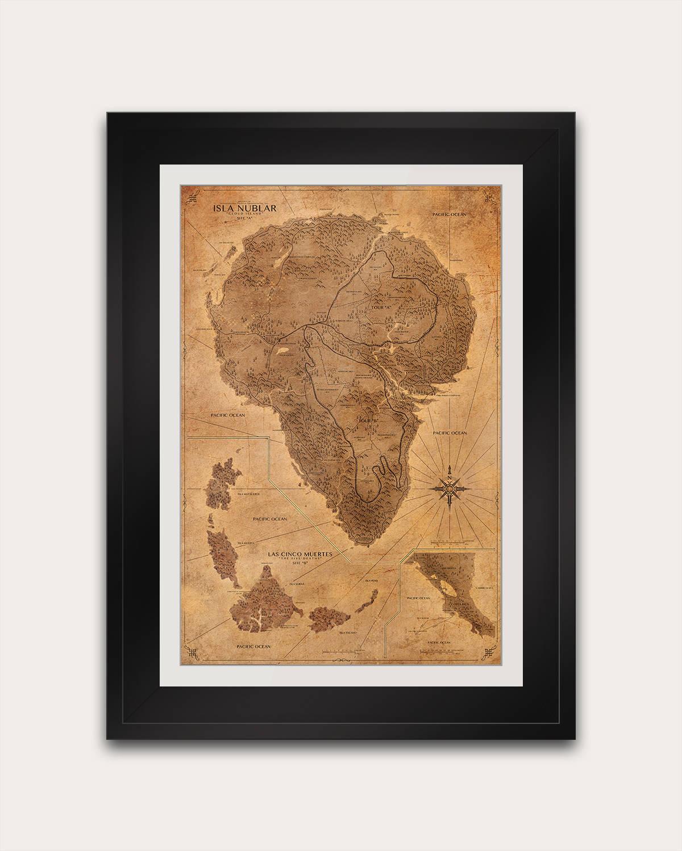 Jurassic park map sepia poster isla nublar map print zoom gumiabroncs Gallery