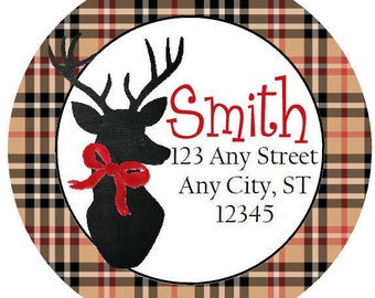 Christmas Round Address Labels,  Black Tan Plaid Reindeer Round Labels Stickers for Christmas Cards, Address Labels, Preppy Labels