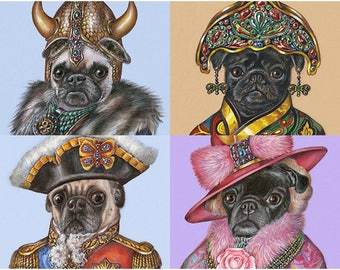Pug Costume Party - 4 Art Prints - Viking, Lady from China, General and Lady Rose - Pug Wall Art - Pet Portraits by Maria Pishvanova