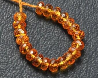 4.2mm Australia Spessartite Mandarin Garnet Faceted Rondelle Beads (20 beads)