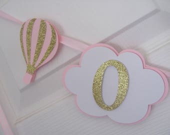 Photo Banner, 1st Year Banner,  12 month banner, Pink and Gold Birthday Hot Air Balloon Birthday Decorations,