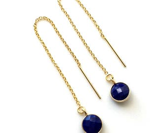 Threader Earrings, Lapis Earrings, Lapis Threader Earrings, Gold Filled Wires, Delicate Lapis in Gold Frames