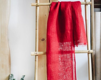 Linen Scarf / Bright Red Shade / Unisex Scarf