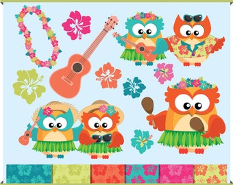 Hawaiian Owl - Luau Party - Digital Clip Art - Instant Download - Hibiscus - Ukulele - Lei - and Patterned Papers