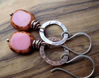 Pink earrings - Copper earrings - Boho earrings - Pink Jewellery - 7th Anniversary gift for her - Casual earrings - Everyday earrings
