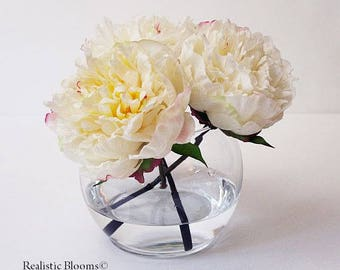 Cream/pink/champagne, silk, peony/peonies, glass vase, faux water, acrylic, illusion, Real Touch flowers, floral arrangement, centerpiece
