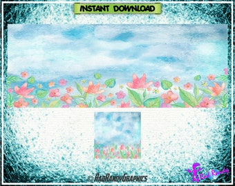Facebook Cover and Profile Image Design Set , Floral Design.