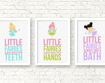 Fairies Nursery Decor,little Fairies Bathroom Decor, Fairy Nursery Wall  Art, Fairy Posters Kids, Bathroom Rules, Girl Bathroom Decor, A 3072