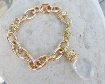 Chunky Gold Chain Bracelet with Wrapped Teardrop