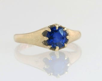 Antique 14K Yellow Gold .98ct Genuine Blue Sapphire Engagement Ring 2.6g
