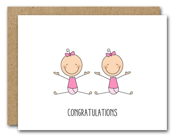 Printable twins card congratulations twins card new baby