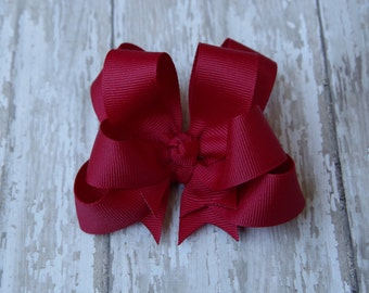 """Girls Hair Bow Cranberry Red 4"""" Boutique Layered Hairbow"""