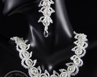 Margareth - tatted neckalce and bracelet with beads, wedding lacy jewelry