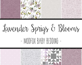 Lavender Sprigs and Blooms Baby Bedding - Floral Crib Bedding - Floral Crib Sheet - Floral Baby Blanket - Floral Changing Pad-Floral Nursery