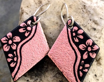 Salmon Flowers Hand Etched Dichroic Earrings Fused Glass & Sterling Silver Handmade Wires