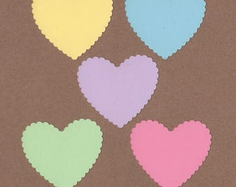 """25 - 2"""" Scalloped Heart Die Cuts Paper Craft Embellishment Soft Side Colors Set 7035"""