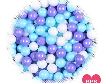Frozen Sugar Pearls in Blue, Purple & White, Frozen Winter Party Sprinkles. Large 7mm Sugar Pearls, Candy Bead, Candy Pearls