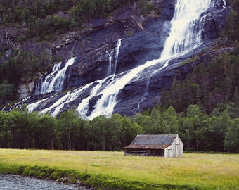 HOME photography print, Norway waterfall landscape, 8x12