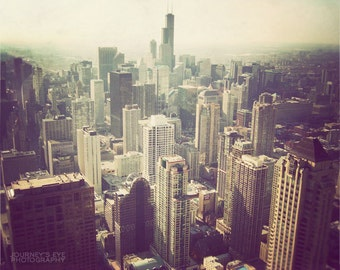 Picture of Chicago, skyline photo, urban landscape, Chicago print, Chicago photography, wall art - Bird's Eye View