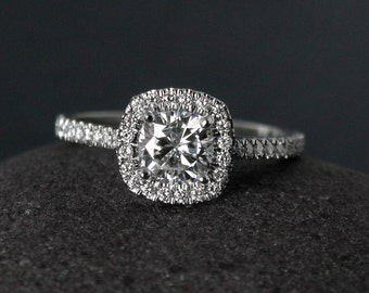 Halo Engagement Ring - Forever One Colorless Moissanite - Half-Eternity Band, Classic Engagement Rings