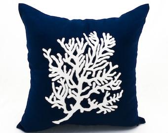 Coral Pillow, Throw Pillow Cover, Navy Blue Pillow,Coral Embroidery,Couch Pillow,Nautical Decor,Coastal Pillow, Beach House Decor, Cushion