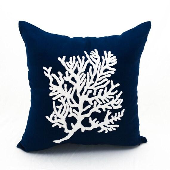 Famoso Coral Pillow Throw Pillow Cover Navy Blue PillowCoral VA99