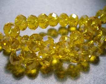 Crystal Beads Gold Faceted Rondelles 8x5mm