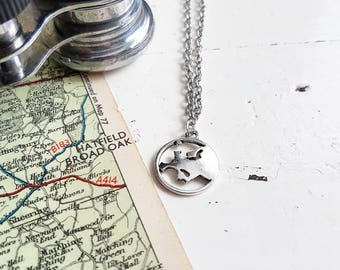 World Map Necklace // Map Jewelry // Antique Map Necklace // Globe Necklace // Travel Gift // Travel Jewelry // Wanderlust // Explore