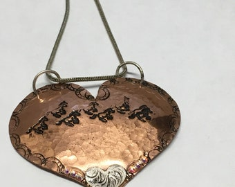 Copper Heart Horse Running With Sterling Pattern Heart All Completely Handmade Equestrian Western Rodeo Jewelery Swarovski