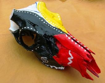 Hand Painted Deer Skull, Deer Skull, Painted White Tail Deer Skull, Tribal Painted Deer Skull, Medicine Wheel Deer Skull